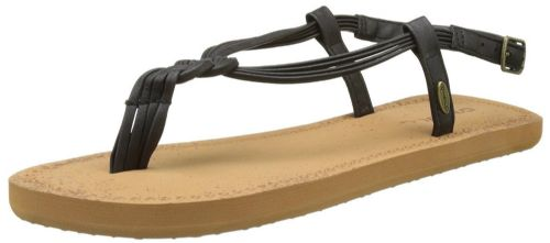 O'NEILL WOMENS SANDALS.NEW DITSY FAUX LEATHER BLACK THONGS/FLIP FLOP 7S/506/9010